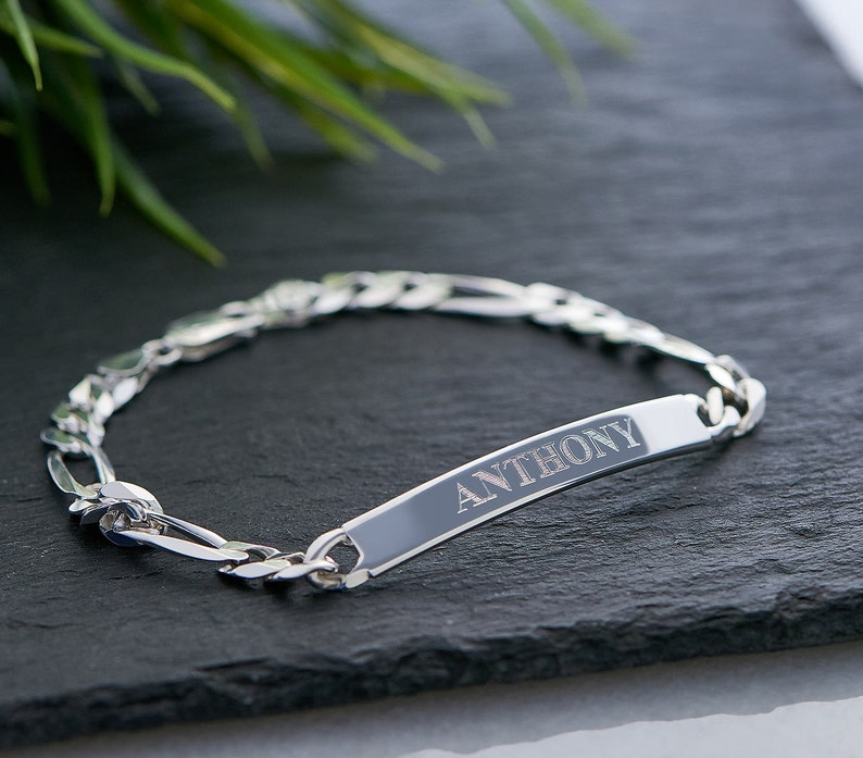 Custom Name Engraved Sterling Silver Jewelry Husband Gifts Personalized ID Link Bracelet Customized Charm Bracelets for Him W Rolo Chain