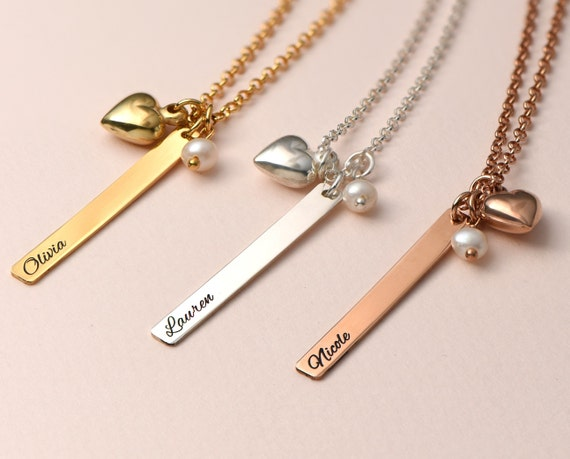 Christmas Gift for Mother Bar Necklace Personalized Dainty 4 Side Engraved Necklace 925 Sterling Silver Long Pendant Necklace Customized Mother Necklace