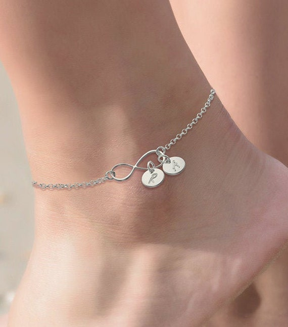 Initial Charm Link Anklet Bracelet Silver Rose Gold-Personalized Name Anklets Initials Charms Dainty Engraved Mothers Jewelry Gift for Her