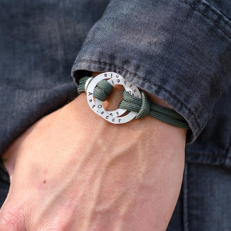 personalized gift Rope Men Bracelet Engraved Custom Hoop in Sterling Silver-Black or Green Cord Custom engraved bracelet Gifts for men