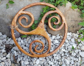 Hand Carved * Triskele ( Trinity Knot ) Wood
