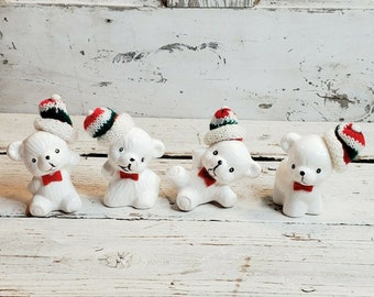 Made In Taiwan 1970/'s Vintage Ornament Vintage Collectible Porcelain Polar Bear with Scarf and Red Sweater Gifts For her SALE Plaid Skirt
