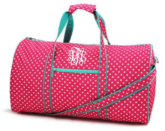 ff6c1b1e8 Girls Monogram Duffle Bag - Personalized Duffle Bag - Pink Polka Dot Bag -  Girls Travel Bag - Dance Bag -Overnight Bag