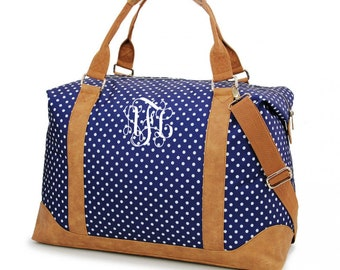 ec7e20a24 Monogram Duffle Bag - Personalized Duffle Bag - Monogram Luggage - Navy Polka  Dot Bag - Overnight Bag - Carry On Luggage - Gift for Her