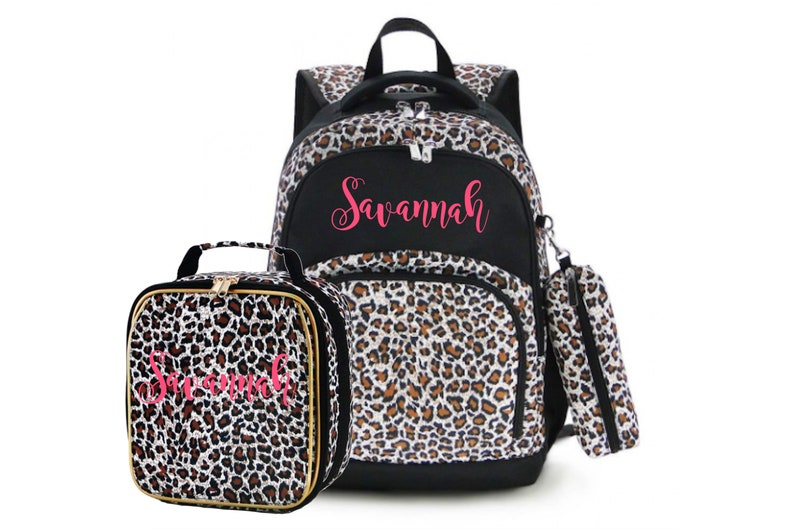 Leopard Backpack and Lunch Box Set Both