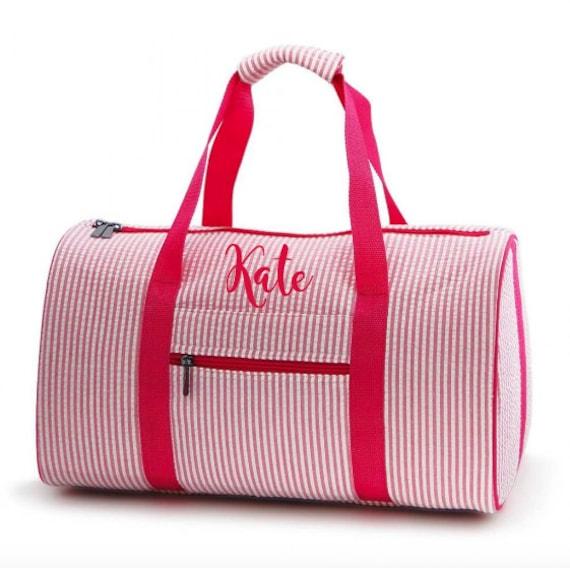 648bc41d94 Seersucker Duffle Bag Personalized Duffle Bag Girls Duffle
