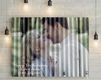 Tin 10th Wedding Anniversary Custom Couples Portrait