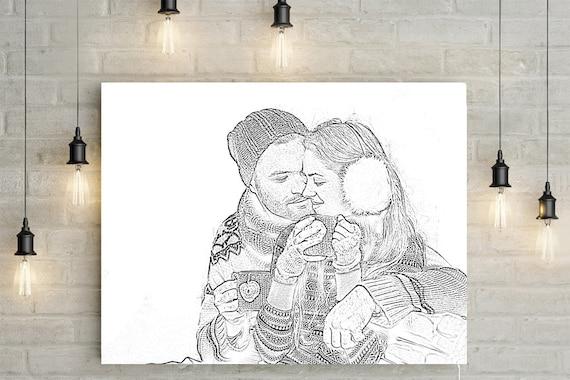 Pencil drawing custom order portrait anniversary