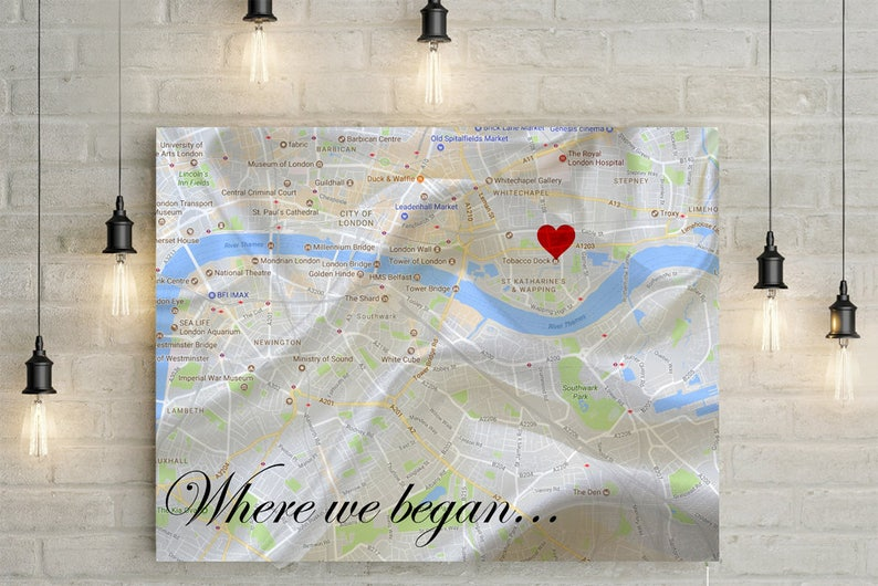Where we met/ Where we began  Personalized Map with Custom image 0