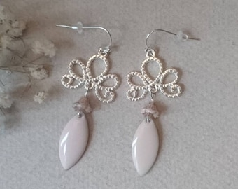 Earrings silver metal connectors, pink old Bohemian glass bells and sequins glazed light pink