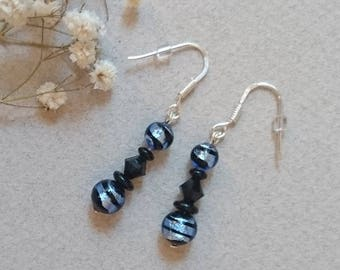 Silver earrings 925, blue and black Swarovski crystals and beads