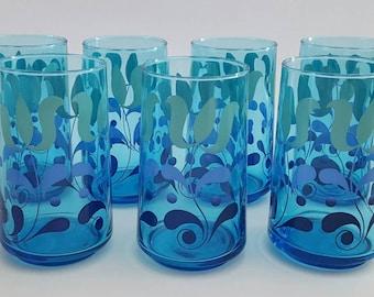 Retro Vintage 70s Drinking Tumblers/Glasses Blue Set of Seven (7)