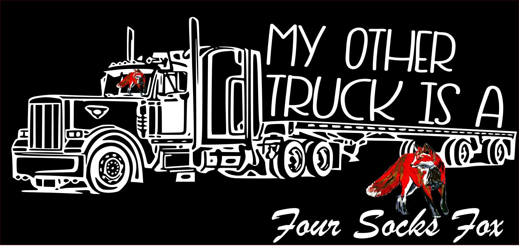 My other truck is a Semi flatbed over the road trucker decal sleeper  peterbilt kenworth long haul realistic truck driver