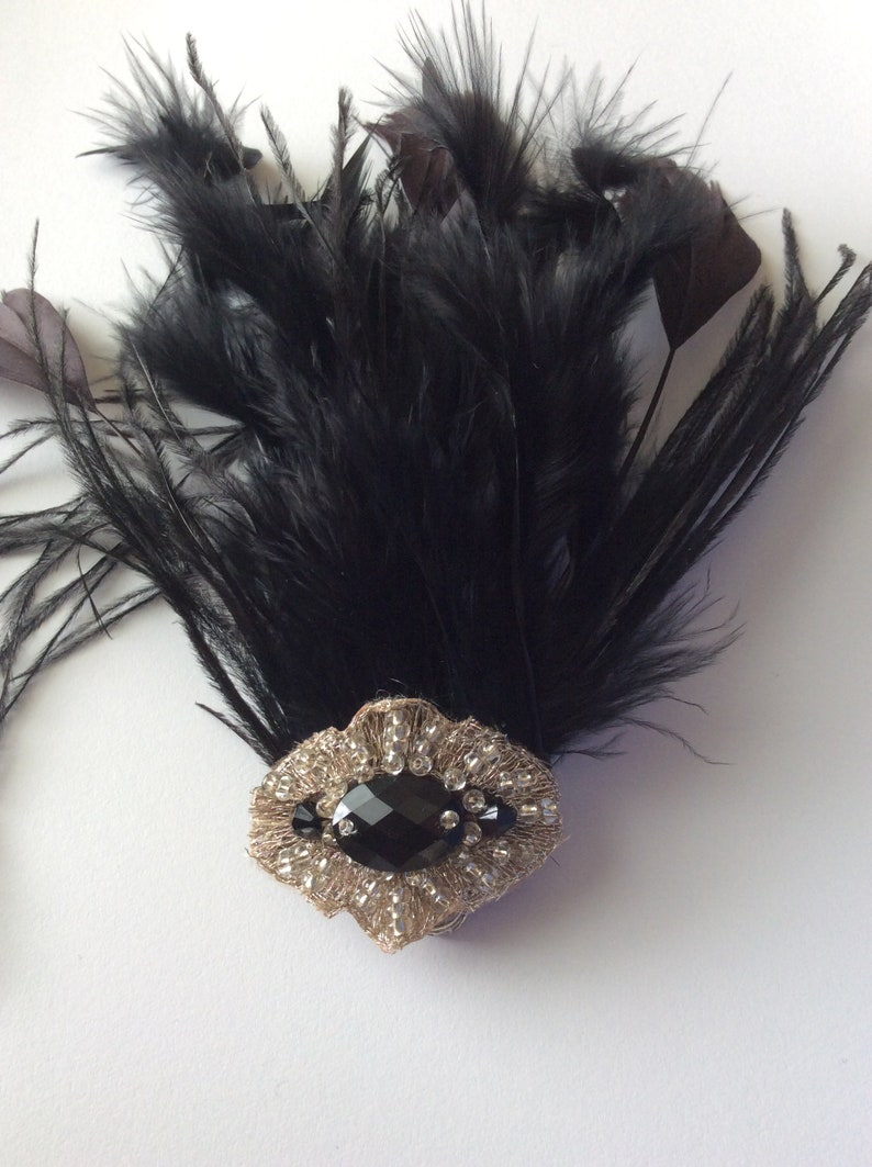 Steampunk Hats | Top Hats | Bowler EDWARDIAN Feather Hair Clip Silver 1920s Black Bronze Feather Fascinator VINTAGE VICTORIAN Titanic 1910 hair clip beaded accessory Flapper $34.99 AT vintagedancer.com