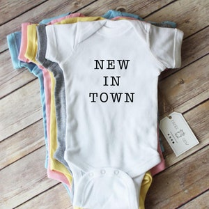 New in Town Cotton Baby Bodysuit  New Baby  Newborn Baby Gift Newborn Gift Newborn outfit