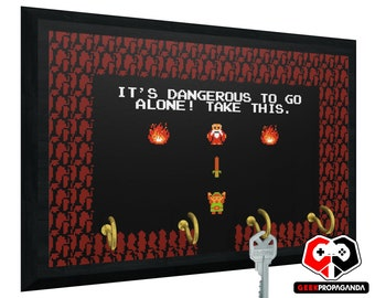 Legend of Zelda Key Holder - 2-6 Hook Wall Mounted Key Rack | Wooden key organizer for wall - It's Dangerous To Go Alone! Take This