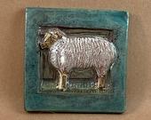 Small Sheep Tile (teal border) (4 x 4 inch aprox)