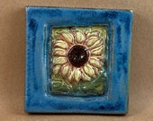 Small Sunflower Tile (skyblue border) (4 x 4 inch aprox)