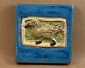 Small Duck Tile (sky blue border) (4 x 4 inch aprox)