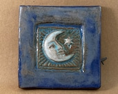 Moon and Star Tile (satin blue) (4 x 4 inch aprox)