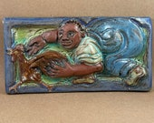 Farmer Chasing Chicken Tile #4 (4 x 8 inch aprox)