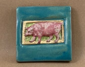 Small Pig Tile (turquoise border) (4 x 4 inch aprox)