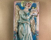Vertical Angel with Tambourine Tile 3 (4 x 8 inch aprox)