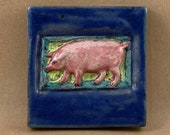 Small Pig Tile (satin blue border) (4 x 4 inch aprox)
