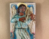 Vertical Angel with Viola Tile 3 (4 x 8 inch aprox)