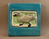 Small Duck Tile (turquoise border) (4 x 4 inch aprox)