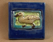 Small Duck Tile (satin blue border) (4 x 4 inch aprox)