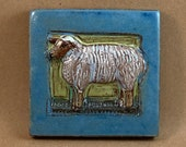 Small Sheep Tile (blue border) (4 x 4 inch aprox)