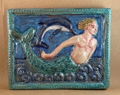 Merman with Dolphin (teal border)  (9 x 7.5 inch aprox)