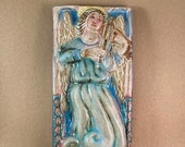 Vertical Angel with Viola Tile 4 (4 x 8 inch aprox)