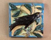Black Bird on Branch Tile (6 x 6 inch aprox)