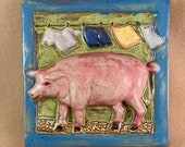 Laundry Pig Tile with Blue Border (6 x 6 inch aprox)