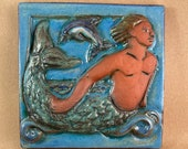 Merman Tile with Skyblue Border 2 (6 x 6 inch aprox)
