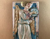 Vertical Angel with Tambourine Tile 2 (4 x 8 inch aprox)