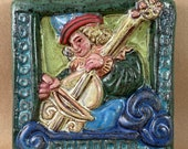 Renaissance Cello Player Tile #2 (6 x 6 inch aprox)