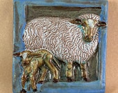 Sheep Tile Blue Border 2 (6 x 6 inch aprox)