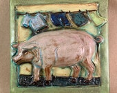 Laundry Pig Tile with Green Border (6 x 6 inch aprox)