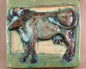Cow Tile Green Border (5.5 x 6 inch aprox)