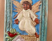 Bless This Home with Health and Joy Angel Tile (6 x 8 inch aprox) teal
