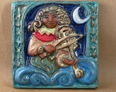 Renaissance Viola Player Tile with Dark Skin  (6 x 6 inch aprox)