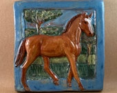 Horse Tile - Chestnut with sky blue border (6 x 6 inch aprox)