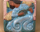 Angel with Lute Tile #2 (6 x 6 inch aprox)