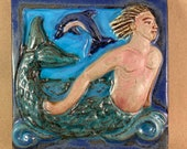 Merman Tile with dark blue border 2 (6 x 6 inch aprox)