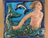Merman Tile with dark blue border (6 x 6 inch aprox)