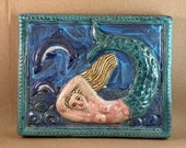 Mermaid with Dolphins (teal border)  (9 x 7.5 inch aprox)