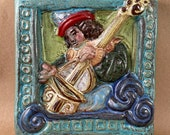 Renaissance Cello Player Tile #1 (6 x 6 inch aprox)